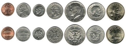U.S. coins obverse and reverse